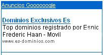 Venta de dominios .es en google