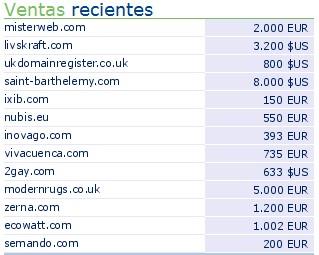 Mas ventas de dominios