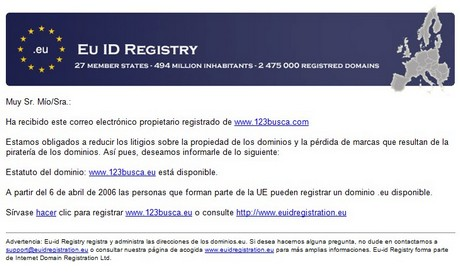 Spam con registro de dominios .eu