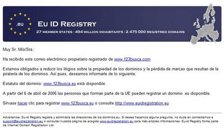 Spam con registro de dominios .eu