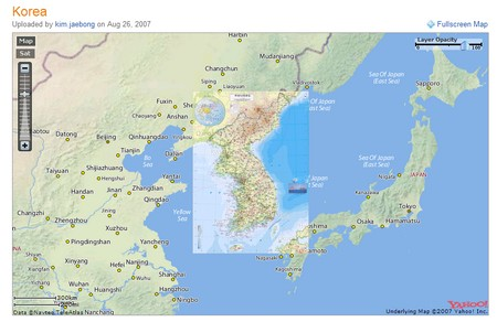 Mapa de coreo superpuesto a Yahoo! Mapas