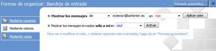 Organizar mensajes con colores en MS Outlook