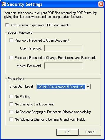 WinPDF opciones de seguridad
