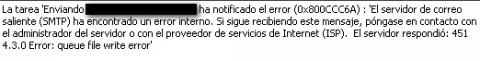 Postfix smtp 451 error queue file write error