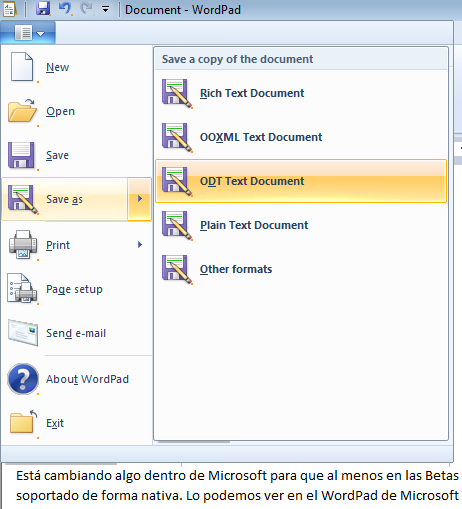 Soporte Open Document en WordPad en Windows 7
