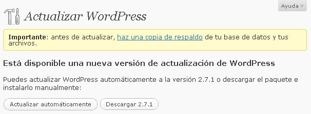 actualizar wordpress a 2.7.1