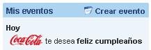 Cocacola me felicita mi cumpleaños en Tuenti