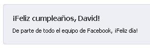 El equipo de facebook también me felicita