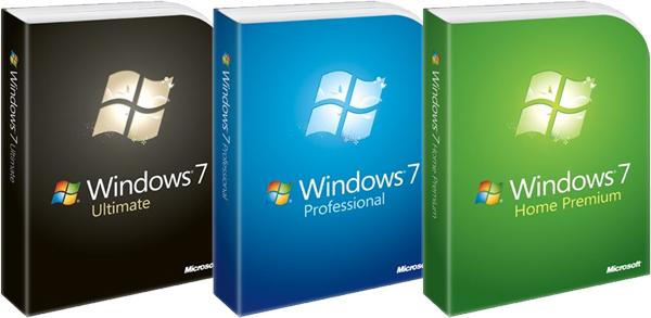 windows 7 cajas de las 3 versiones principales