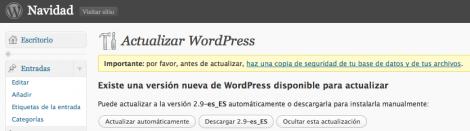 wordpress 2.9 actualizar