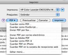 imprimir en PDF en Mac OS X