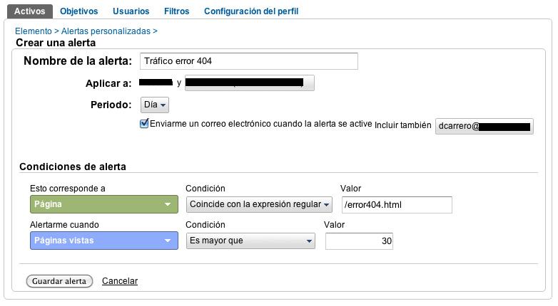 Crear una alerta en Google Analytics Optimizando páginas de error: Creando oportunidades de nuestros errores