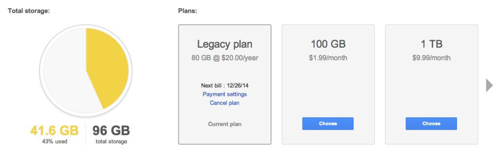almacenamiento en google drive
