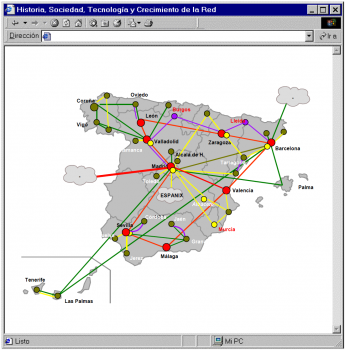 mapa de los inicios internet en espana