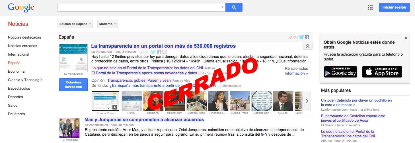 Cierre de google news en España