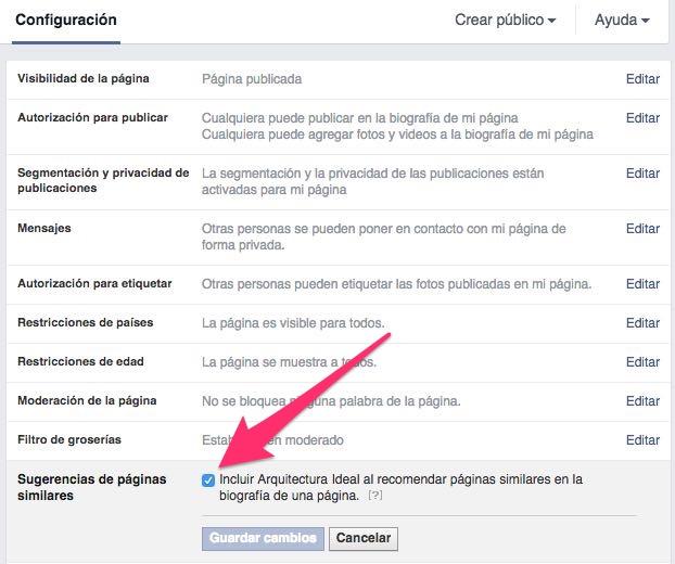 activar sugerencias de páginas de facebook